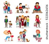 family set of people. vector | Shutterstock .eps vector #522062656