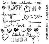 vector love symbols set black | Shutterstock .eps vector #522065326