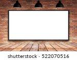 blank white frame on brick wall ... | Shutterstock . vector #522070516