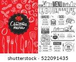 christmas restaurant brochure ... | Shutterstock .eps vector #522091435