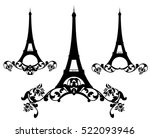eiffel tower among rose flowers ... | Shutterstock .eps vector #522093946