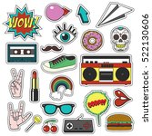 retro patch badges set.... | Shutterstock .eps vector #522130606