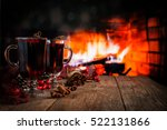 Hot Mulled Wine In A Glass Wit...