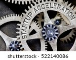 Small photo of Macro photo of tooth wheel mechanism with STARTUP ACCELERATION concept letters
