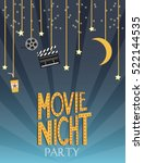 night movie party invitation... | Shutterstock .eps vector #522144535