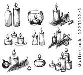 vector set of sketch candles... | Shutterstock .eps vector #522155275