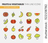 fruits and vegetables thin line ...   Shutterstock .eps vector #522158782