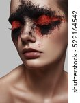 red and black powder makeup on... | Shutterstock . vector #522164542