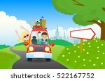happy family travel in a car .... | Shutterstock .eps vector #522167752