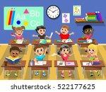 happy kids or children sitting... | Shutterstock .eps vector #522177625