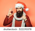 young handsome bearded santa... | Shutterstock . vector #522193378