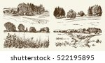rural landscape. hand drawn set. | Shutterstock .eps vector #522195895
