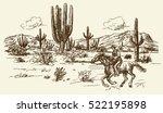 american wild west desert with... | Shutterstock .eps vector #522195898