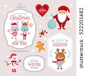 set with christmas design... | Shutterstock .eps vector #522201682