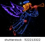 glowing christmas angel in the... | Shutterstock . vector #522213322