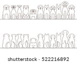 large dogs border set  front... | Shutterstock .eps vector #522216892