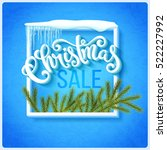christmas sale poster with hand ... | Shutterstock .eps vector #522227992