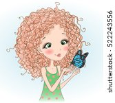 beautiful young curly girl with ... | Shutterstock .eps vector #522243556