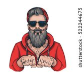 vector color hipster tattoo... | Shutterstock .eps vector #522244675