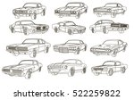 vector retro sport cars outline | Shutterstock .eps vector #522259822