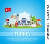 turkey flat design composition... | Shutterstock .eps vector #522265765