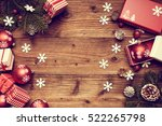 christmas decorations on a... | Shutterstock . vector #522265798