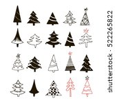 hand drawn christmas tree icons ... | Shutterstock .eps vector #522265822