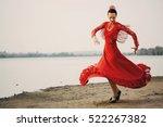 woman traditional dancer... | Shutterstock . vector #522267382