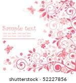 greeting floral pink card | Shutterstock .eps vector #52227856