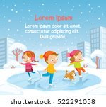 illustration with kids skating... | Shutterstock .eps vector #522291058