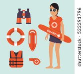female life guard standing... | Shutterstock .eps vector #522291796