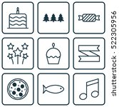 set of 9 christmas icons. can...