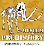 vector skeleton of mammoth on... | Shutterstock .eps vector #522306772