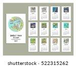 doodle town calendar of 2017.... | Shutterstock .eps vector #522315262