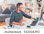 freelance architect working in... | Shutterstock . vector #522326392