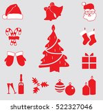 christmas and new year icons... | Shutterstock .eps vector #522327046