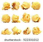 row of caramel popcorn isolated   Shutterstock . vector #522331012