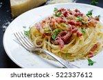 pasta carbonara. spaghetti with ... | Shutterstock . vector #522337612