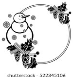 black and white round frame... | Shutterstock .eps vector #522345106