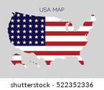 flag in map of usa on gray... | Shutterstock .eps vector #522352336