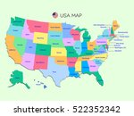 colorful map of usa with names... | Shutterstock .eps vector #522352342