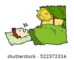 tired lazy man sleep in the bed ... | Shutterstock .eps vector #522372316