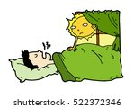 tired lazy man sleep in the bed ... | Shutterstock .eps vector #522372346