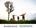 the happy family of three... | Shutterstock . vector #522393292