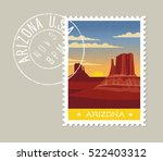 arizona postage stamp design.... | Shutterstock .eps vector #522403312