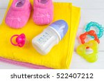 baby bottle with milk and towel ... | Shutterstock . vector #522407212