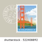 california postage stamp design.... | Shutterstock .eps vector #522408892
