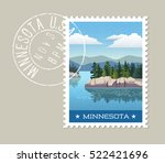 minnesota postage stamp design. ... | Shutterstock .eps vector #522421696