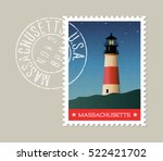 massachusetts postage stamp... | Shutterstock .eps vector #522421702
