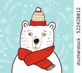 polar bear in red hat. | Shutterstock .eps vector #522428812
